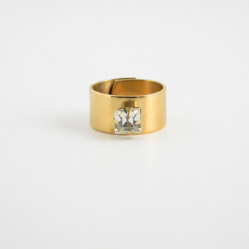 Crystal Square Stack Ring // Geometric Jewelry, Gift under 25, Christmas Gift