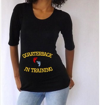"""Funny  Black Maternity Tshirt """" Quaterback in training""""   3/4 sleeves Choose your Size M,L,XL"""