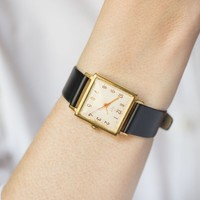 Vintage women watch square gold plated mid size, lady wrist watch Ray, Shockproof watch, Minimalist woman watch, Premium leather strap new