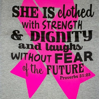 Southern Chics Breast Cancer Awareness Pink Ribbon Proverbs Christian Girlie Bright T Shirt