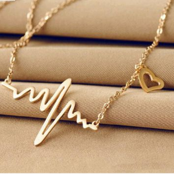 Chic Heartbeat Gold Plated Pendant Necklace