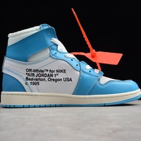 Nike Air Jordan 1 Retro High Off-White UNC Blue AQ0818-148 Men's  Basketball Sneaker