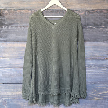 oversize thermal sweater - olive