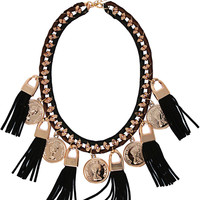 Coin Tassel Thread Necklace in Gold – bandbcouture.com