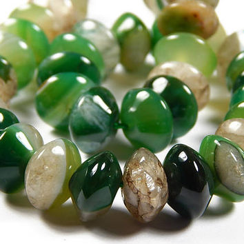 7-1/2 Inch Strand - 14x9mm Natural Sea Green Botswana Agate Rondelle Beads - Gemstone Beads - Rondelle - Jewelry Supplies