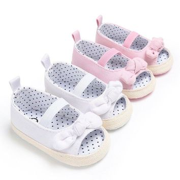 Toddler Newborn Baby Girls  Summer Sandals Crib Canvas Shoes Soft Sole Prewalker
