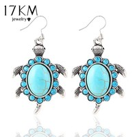17KM New Fashion Luxury Silver Color Vintage Animals Turtle Brilliant Crystal Synthetic Stone drop earrings jewelry for women