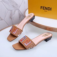 Fendi Women's Leather Fashion Mid-heeled Sandals