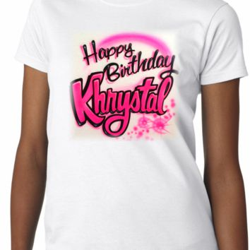 Airbrushed Birthday Name Shirt