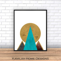 Geometric Print, Printable Wall Art, Yellow Black Green Decor, Scandinavian, Modern Midcentury, Instant Download, Watercolor Print.