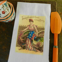Thanksgiving  Towel Patriotic Thanksgiving Turkey Flour Sack Tea Kitchen Towel  Vintage Americana Thanksgiving Fall Decor