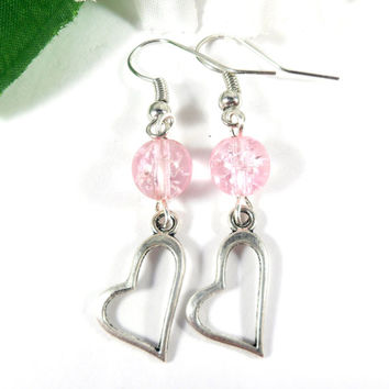 Pink Heart Charm Earrings, Boho Chic Heart Earrings, Pink Earrings, Love Earrings Gift for Her, Gifts for Mom, Heart Jewelry, Gifts Under 15