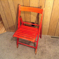Chair Wooden Slats Folding - Beautiful Color - Vintage Stain with a Lovely Aged Look that took Years to Get