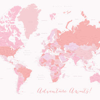 Pink world map with countries and main cities (no recommended for mini, small and medium sizes) Art Print by BlursbyaiShop
