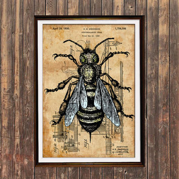 Bee art Patent print Steampunk print Insect poster SOL32