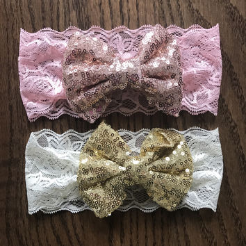 Pink & Cream Ivory Gold Sequin Bow Lace Headband Baby Girl
