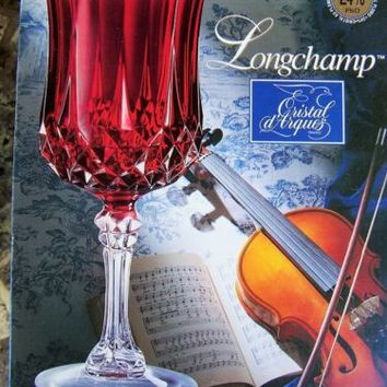 2 Longchamp Cristal d'Arques Ruby Red Crystal Wine Goblets 25th Anniversary MIB
