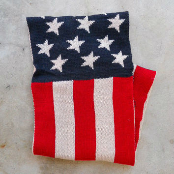 American Flag Stripes & Stars Knitted Infinity Scarf