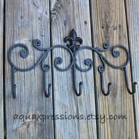 Metal Wall Hook /Black Hanger/ Five Hook/ Fleur de lis metal decor/ Decorative Key, Towel Holder/ Painted Coat Rack/ Iron /French Country