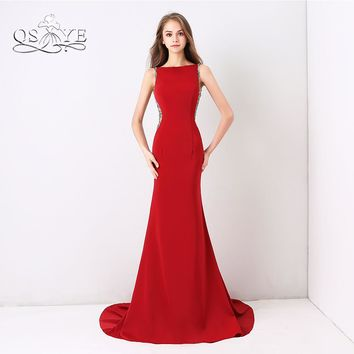 QSYYE 2018 Red Long Mermaid Prom Dresses Elegant Sheer Beaded Back Sweep Train Stretch Satin Formal Evening Dress Party Gown
