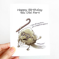 Funny Birthday Card, Old Fart, Blank Greeting Card, Happy Birthday, Old Man, Adult Humor