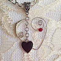 Wire Wrapped Heart Pendant Necklace Handcrafted