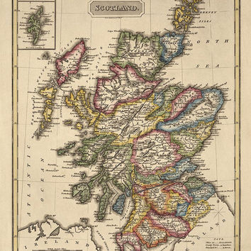 Antique Map of Scotland (c1817) by Fielding Lucas - Archival Reproduction