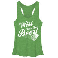 CHINUP St Patricks Day Will Run For   Womans Racerback Tank