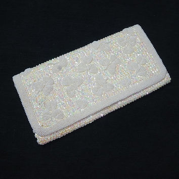 1970s Ivory Beaded & Sequins Purse or Evening Bag, Envelope Clutch, Satin Lining, Inside Pocket, Seed Beads, Iridescent Sequins, Prom, Gala