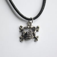 Gunmetal Skull and Crossbones Pendant, attached to a Black Leather Necklace, arrives with satin pouch
