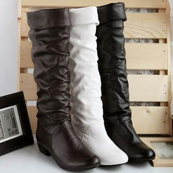 Large size new arrive Winter Knee high Women Boots Black White Brown flat heels half boots autumn winter shoes woman = 1945901700