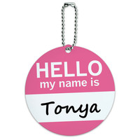 Tonya Hello My Name Is Round ID Card Luggage Tag