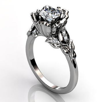 14k white gold diamond unusual unique floral engagement ring, bridal ring, wedding ring ER-1033-1
