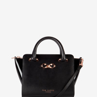 Mini patent leather tote bag - Black | Bags | Ted Baker FR