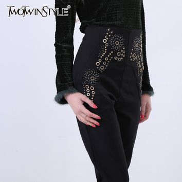 [TWOTWINSTYLE] Spring Metal Rivets Patterned High Waist Slim Elastic Women Pants New Fashion Trousers
