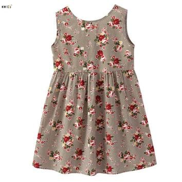 Vintage Princess Dress Girl Clothes 2018 Summer Sleeveless Plaid Flower Dresses For Girls Backless A-Line Kid Vestido