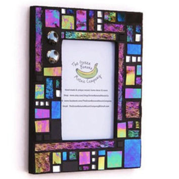 Mosaic Picture Frame, 4 x 6 Picture Size, Black + Iridescent + Silver Mirror + 3D Nuggets Handmade Stained Glass Mosaic Picture Frame