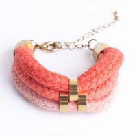 Shades of coral  Minimalist Bracelet with beads by ChezKristel