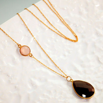 Smokey Quartz and Rose Chalcedony Long Gold Fill Necklace Kaya Jewelry