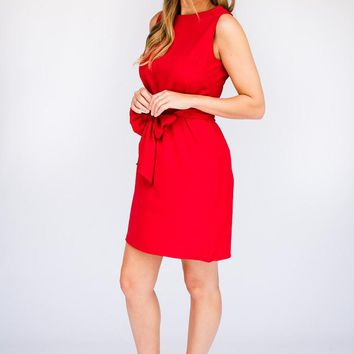 All The Feels Bow Tie Dress in Red