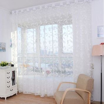 DCCKU7Q Super Deal Pteris Tulle Door Window Curtain Drape Panel Sheer Scarf Valances XT