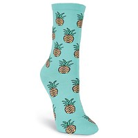 Women's Pineapple Crew Socks by K. Bell Socks - FINAL SALE