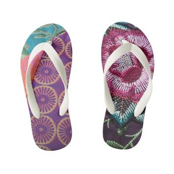 Embroidered fabric and rose print bohemian flipflo kid's flip flops