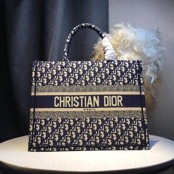 Kuyou Gb59717 Dior Embroidered Canvas Blue Shopping Bag 36*28*15cm