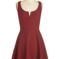 ModCloth Mid-length Sleeveless A-line Shared Laughter Dress in Red