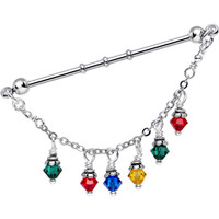 Christmas Lights Industrial Barbell MADE WITH SWAROVSKI CRYSTALS | Body Candy Body Jewelry