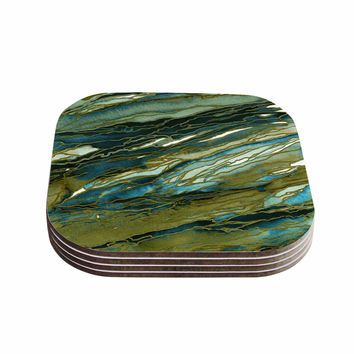 "Ebi Emporium ""Agate Magic - Olive Teal Blue"" Brown Blue Coasters (Set of 4)"