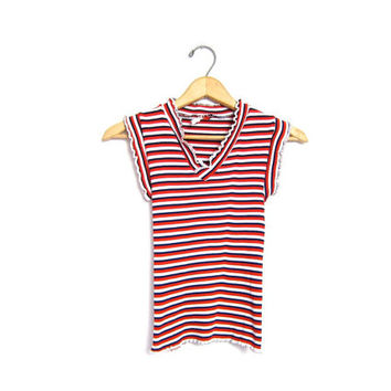 Striped 70s Cropped Ribbed Mod Top Short Cap Sleeved Retro Shirt Red Blue White Patriotic Vneck Tee Tshirt 1970s Hippie Preppy XS Small