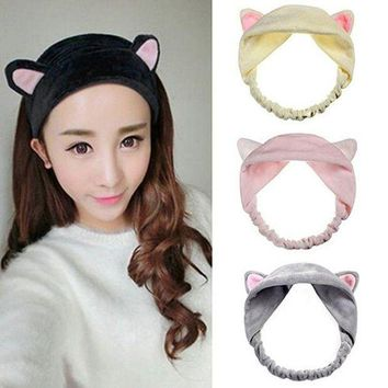 DCCKWJ7 1 Pc Cotton Cat Ears Hair Clips For Women Girls Soft Cartoon Hairband girls headbands Hair Hoop Hair Accessories bandeau cheveux