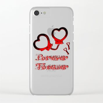 Forever together, in BDSM way, Valentine's day design, red cuffs and keys, fetish lover Clear iPhone Case by Peter Reiss